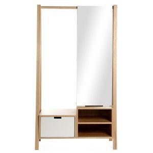 Garderobe mit Spiegel, 88x45x160cm, natur