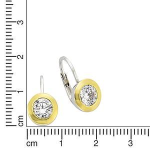 Celesta Silber Ohrhänger 925/- Sterling Silber bicolor Zirkonia