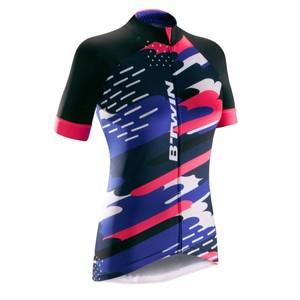 B´TWIN Kurzarm-Radtrikot Rennrad 900 Damen schwarz/blau/pink, Größe: XS
