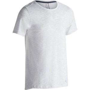 DOMYOS T-Shirt 520 Slim Gym & Pilates Rundhals Herren weiß mit Print, Größe: S
