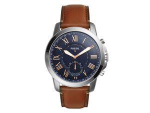 FOSSIL Q Grant, Hybrid Smartwatch, mit Lederarmband, silber