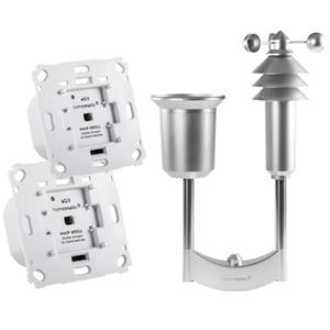 Homematic IP 2er Set Rollladenaktor für Markenschalter + Wettersensor Plus