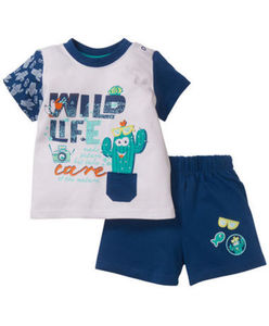 T-Shirt + Shorts - Kaktus, Schriftzug - 2-tlg. Set