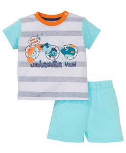 T-Shirt + Shorts - gestreift, Meerestiere - 2-tlg. Set