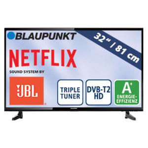 """32""""-LED-HD-TV BLA-32/148O • H.265, 3 HDMI-/2 USB-Anschlüsse • CI+, 2 x 10 Watt RMS • Stand-by: 0,5 Watt, Betrieb: 31 Watt • Maße: H 44,5 x B 73,9 x T 8,6 cm • Energie-Effizienzklasse A+"""