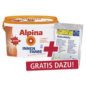Alpina Innenfarbe 10 Liter, hochdeckend, Reichweite: ca. 60 m² + Abdeckfolie im Wert von 0,99 €