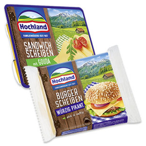 Hochland Sandwich Scheiben Schmelzkäsezubereitung, 45 % Fett i. Tr., versch. Sorten, jede 150-g-Packung