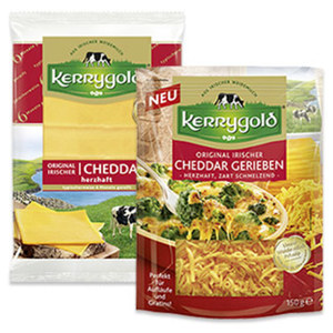 Kerrygold Irischer Cheddar Scheiben oder gerieben Irischer Hart- und Schnittkäse, 48/50 % Fett i. Tr., versch. Sorten,  jede 150-g-Packung