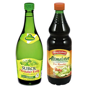 Kühne Surol oder Hengstenberg Altmeister Essig 5 % Säure, jede 750-ml-Flasche