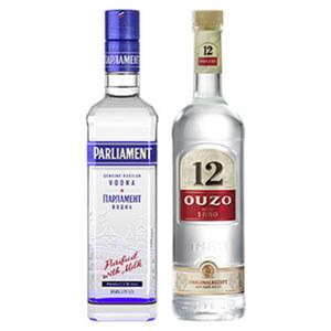 Ouzo 12, Hierbos, Gold oder Parliament Vodka 38/28/36/38 %  Vol., jede 0,7-l-Flasche