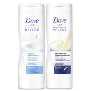 Dove Body Milk oder Lotion versch. Sorten, jede 400-ml-Flasche