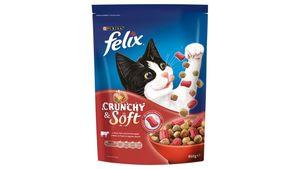 felix Katzentrockenfutter Crunchy & Soft mit Rind, Huhn und Gemüsezugabe