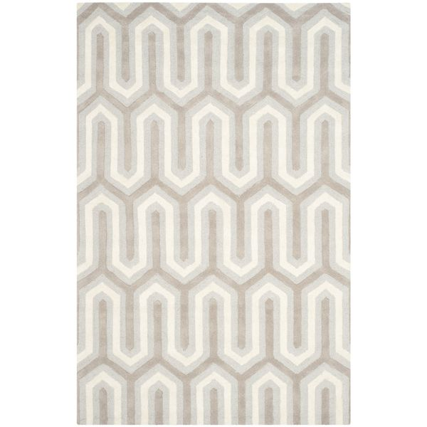 Teppich Leta handgetuftet - Wolle - Beige / Hellgrau - 121 x 182 cm, Safavieh
