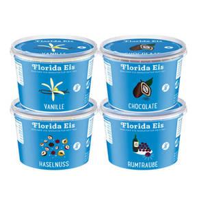 Florida Eis             Probierpaket 1x Vanille, 1x Chocolate, 1x Haselnuss, 1x Rumtraube Speiseeis