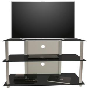 VCM TV-Möbel Posio Silber/Schwarzglas
