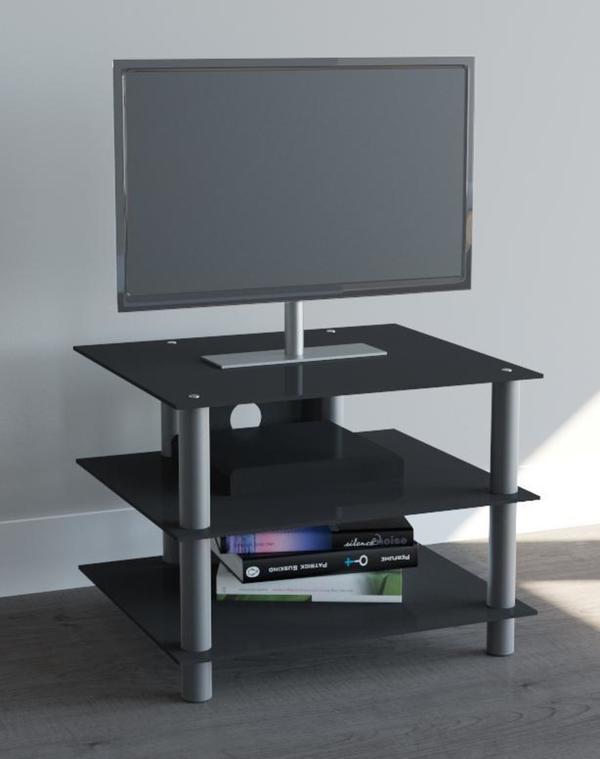 VCM TV-Möbel Sindas Silber/Schwarzglas