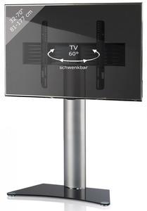 VCM TV-Standfuß Zental Silber/Schwarzglas
