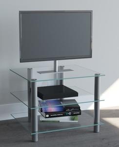VCM TV-Möbel Sindas Silber/Klarglas