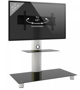 VCM TV-Standfuß Standol Silber/Schwarzglas