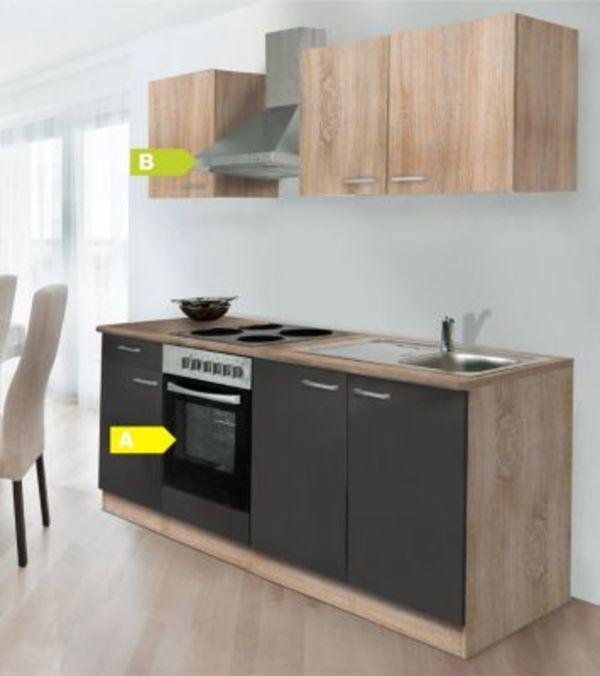 Respekta Küchenzeile KB210ESGOES 210 Cm Grau Eiche Sägerau Nachbildung