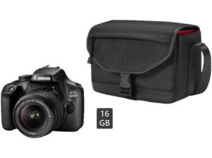 CANON EOS 4000D Kit Spiegelreflexkamera inkl. Tasche, 16 GB Speicherkarte, 18 Megapixel, Full HD, APS-C Sensor, Near Field Communication, WLAN, 18-55 mm Objektiv (EF-S), Autofokus, Schwarz