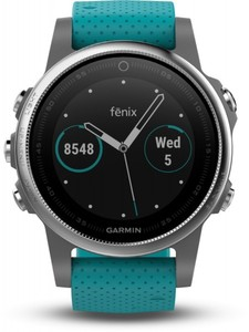 Garmin Smart Watch fenix 5S ,  silber/türkis