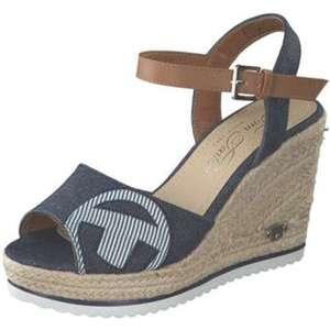 Tom Tailor Plateau Sandale Damen blau