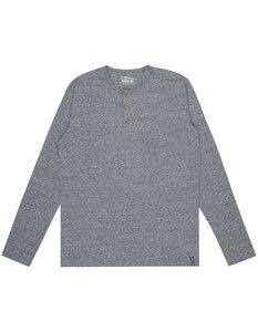 Herren Serafino-Shirt in Melangeoptik