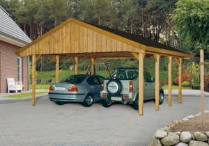 SKAN HOLZ Satteldach Doppelcarport 580 x 600 cm mit schwarzen Dachschindeln