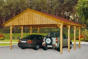 SKAN HOLZ Satteldach Doppelcarport 580 x 600 cm mit roten Dachschindeln