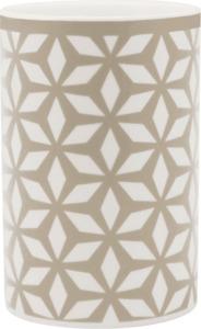 Soapland Mundbecher Keramik weiß-taupe mit Muster