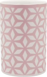 Soapland Mundbecher Keramik weiß-rosa  mit Muster