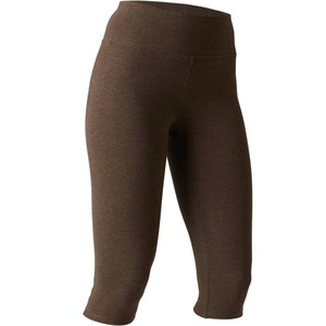 DOMYOS 3/4-Leggings 520 Slim Gym Stretching Damen kakimeliert, Größe: 2XS / W24 L30