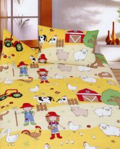 Kinderbettwäsche Bauernhof, Cretonne, gelb, 100 x 135 cm