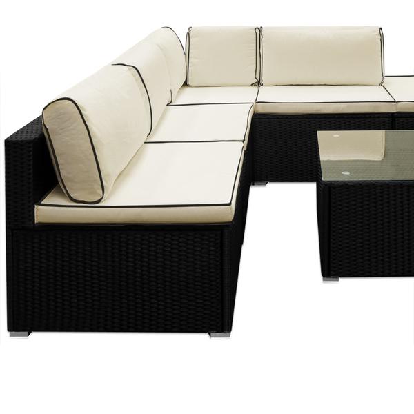polyrattan lounge set schwarz, deuba premium komfort polyrattan lounge set schwarz/creme von norma, Design ideen