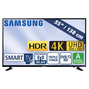 "55""-Ultra-HD-LED-TV UE55NU7099 HbbTV, H.265, HDR, Quad-Core, 2 HDMI-Eingänge, USB-/CI+-Anschluss, 20 Watt RMS, Stand-by: 0,5 Watt, Betrieb: 105 Watt, Maße: H 71,4 x B 123,9 x T 5,9 cm, Energie-Effi"