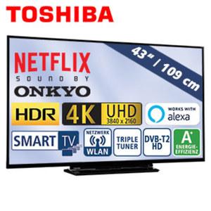 "43""-Ultra-HD-LED-TV 43V5863DA HbbTV, H.265, HDR10, 3 HDMI-/2 USB-Anschlüsse, CI+, 2 x 10 Watt RMS, Stand-by: 0,5 Watt, Betrieb: 54 Watt, Maße: H 56,7 x B 97,1 x T 7,3 cm, Energie-Effizienzklasse A+"
