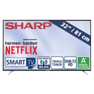 """32""""-LED-HD-TV LC-32CHI5232E Auflösung 1366 x 768 Pixel, 100-Hz-Technik, H.265, 3 HDMI-/2 USB-Anschlüsse, CI+, Stand-by: 0,5 Watt, Betrieb: 31 Watt, Maße: H 43,1 x B 73,2 x T 8,4 cm, Energie_Effizi"""