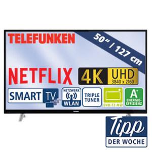 """50""""-Ultra-HD-LED-TV D50U293N4CW 1200-Hz-Technik, HbbTV, H.265, 3 HDMI-/2 USB-Anschlüsse, CI+, Stand-by: 0,5 Watt, Betrieb: 71 Watt, Maße: H 67,0 x B 113,4 x T 9,1 cm, Energie-Effizienzklasse A+ (Sp"""