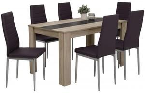 7-teilige Tischgruppe Mareike Sonoma Eiche Nachbildung/ schwarz