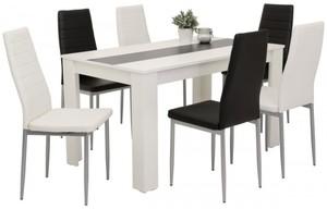 7-teilige Tischgruppe Mareike weiß/ schwarz