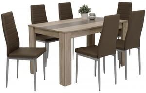 7-teilige Tischgruppe Mareike Sonoma Eiche Nachbildung/ cappuccino