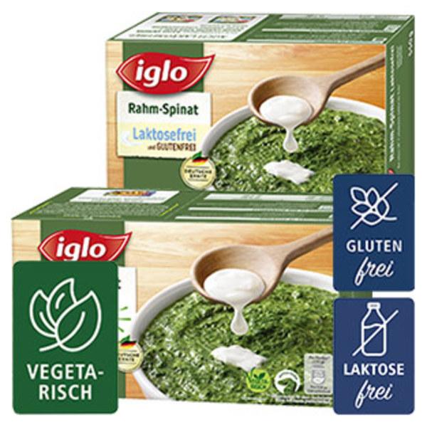Iglo Rahmspinat oder Rahmspinat Lactosefrei gefroren, jede 800/550-g-Packung und weitere Sorten