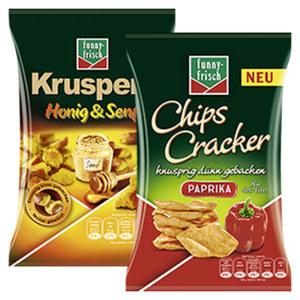 Funny Frisch Chips Cracker oder Kruspers versch. Sorten, jeder 90/120-g-Beutel