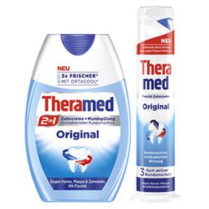 Theramed 2in1 Zahncreme + Mundspülung oder Spender versch. Sorten, jede 75-ml-Flasche/jeder 100-ml-Spender