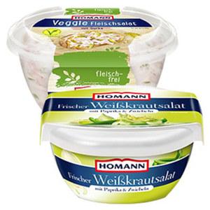 Homann Weisskrautsalat oder Veggie Fleischsalat und weitere Gemüsesalate, jede 180/400-g-Packung