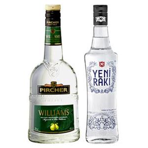 Yeni Raki oder Pircher Williams 45/40 % Vol.,  jede 0,7-l-Flasche