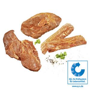 XXL Grillpaket  bestehend aus: 2 Nackensteaks, 2 Bauchscheiben, 1 Holzfällergrillscheibe vom Schwein, gewürzt, ca. 1,4-kg-Packung, je 1 kg