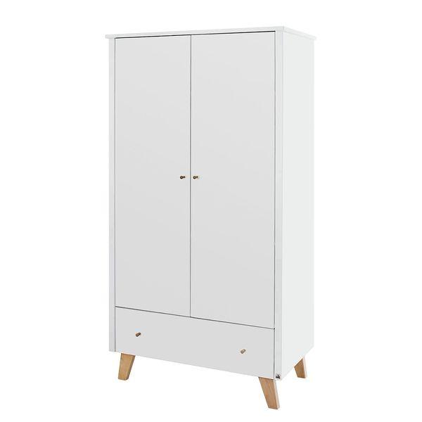 kleiderschrank pan kids wei eiche 100 cm 2 t rig. Black Bedroom Furniture Sets. Home Design Ideas