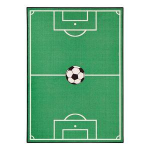 Kinderteppich Fußballfeld - Kunstfaser - Grün - 140 x 200 cm, Zala Living